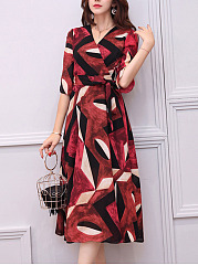 V-Neck Geometric Color Block Belt Maxi Dress