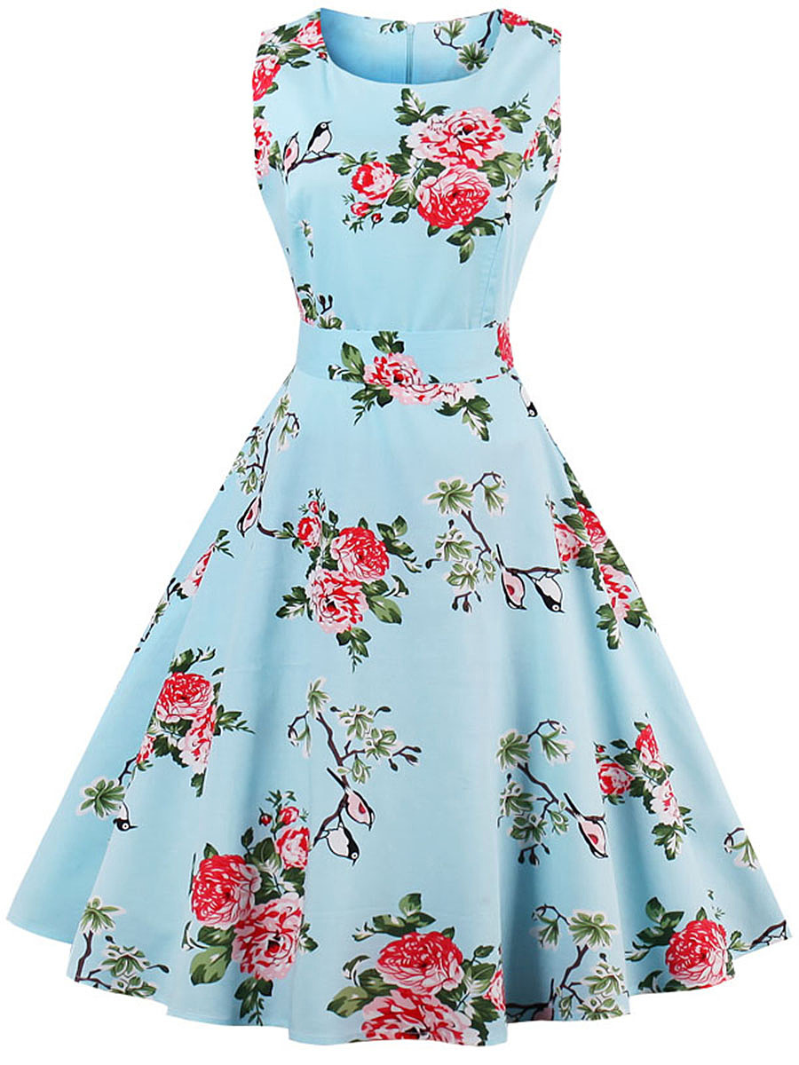 Absorbing Round Neck Bowknot Skater Dress In Floral Printed