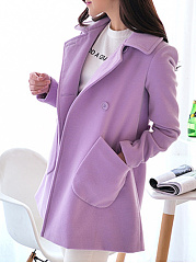 Lapel  Double Breasted Patch Pocket  Curved Hem  Plain  Long Sleeve Coats