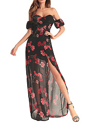 Strapless  High Slit  Printed Maxi Dress