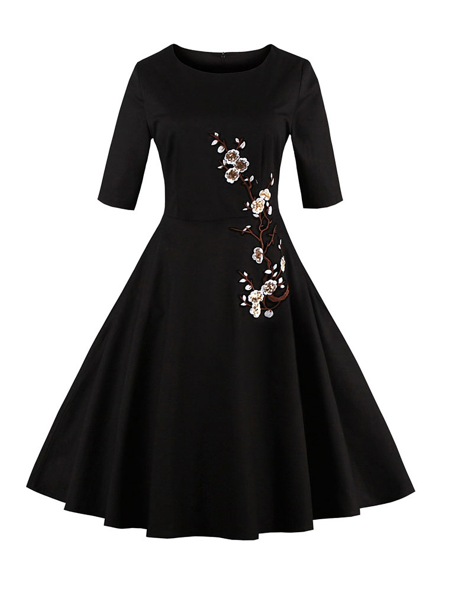 Round Neck Glitter Floral Embroidery Skater Dress