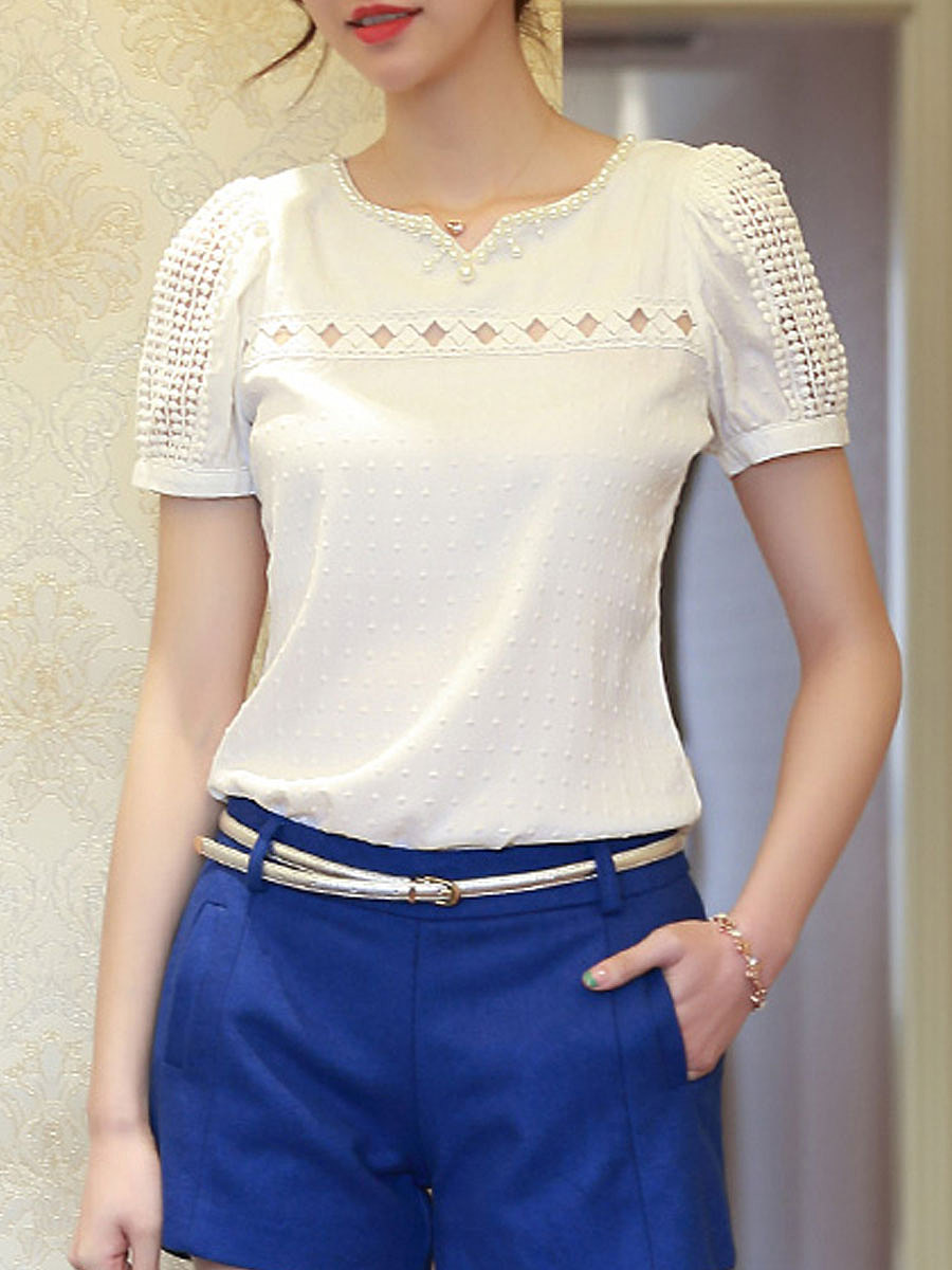 Hollow Out  Short Sleeve Blouses