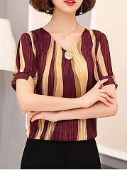 Summer  Chiffon  Women  Round Neck  Color Block  Short Sleeve Blouses