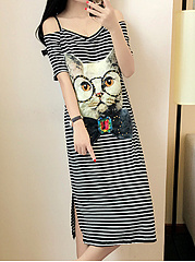 Spaghetti Strap  Cartoon Shift Dress