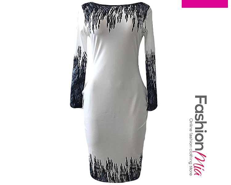 thickness:regular, brand_name:fashionmia, style:western, material:blend, sleeve:long sleeve, pattern_type:abstract print, length:knee-length, how_to_wash:cold  hand wash, supplementary_matters:all dimensions are measured manually with a deviation of 2 to 4cm.,the fabric is elastic., occasion:daily*date, season:autumn*winter, dress_silhouette:sheath, package_included:dress*1, length:104,bust:82,waist:70,hip:86,