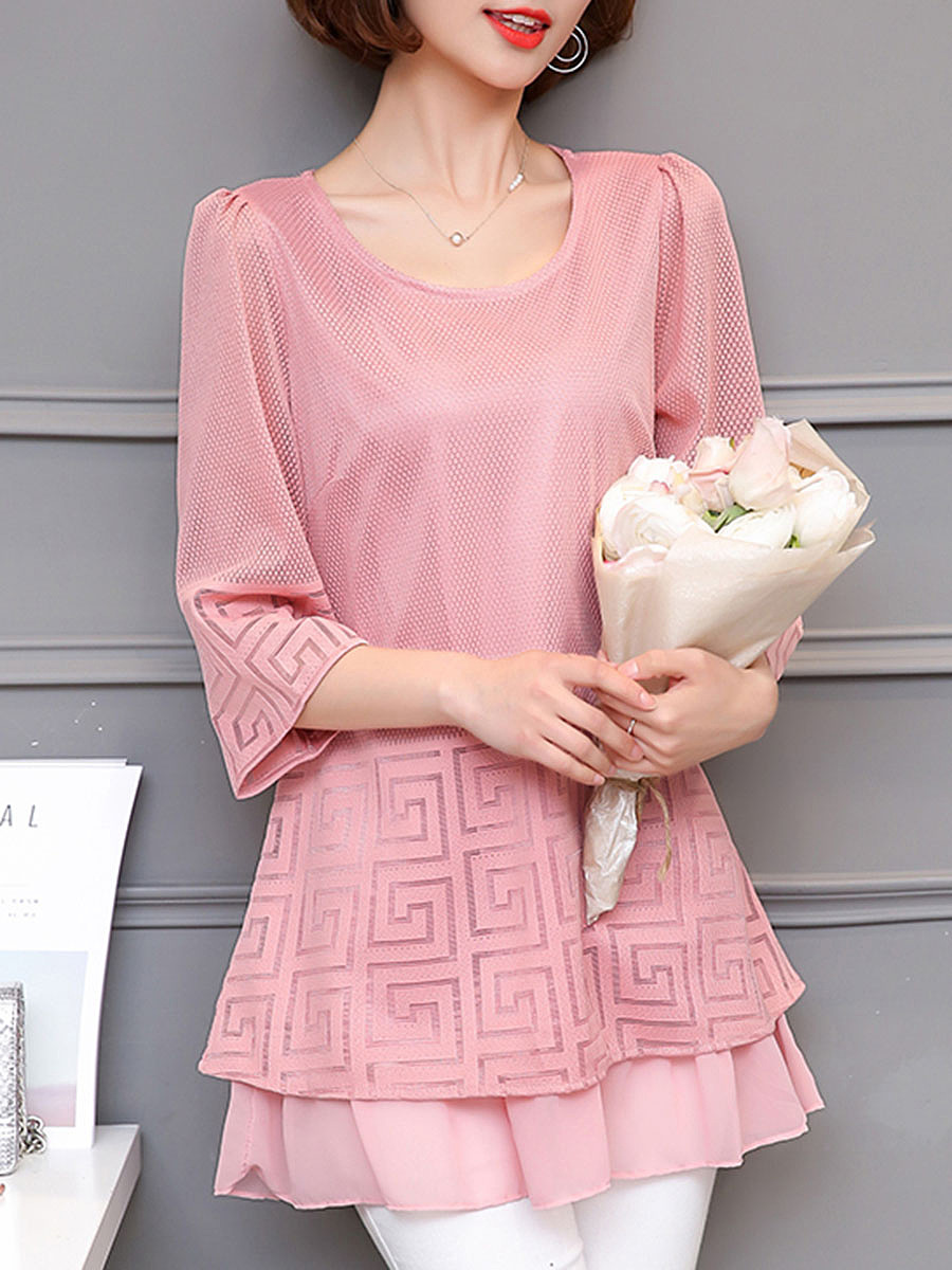 Hollow Out Plain Round Neck Ruffled Hem Blouse