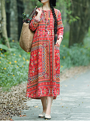 Cotton Round Neck  Printed Maxi Dress
