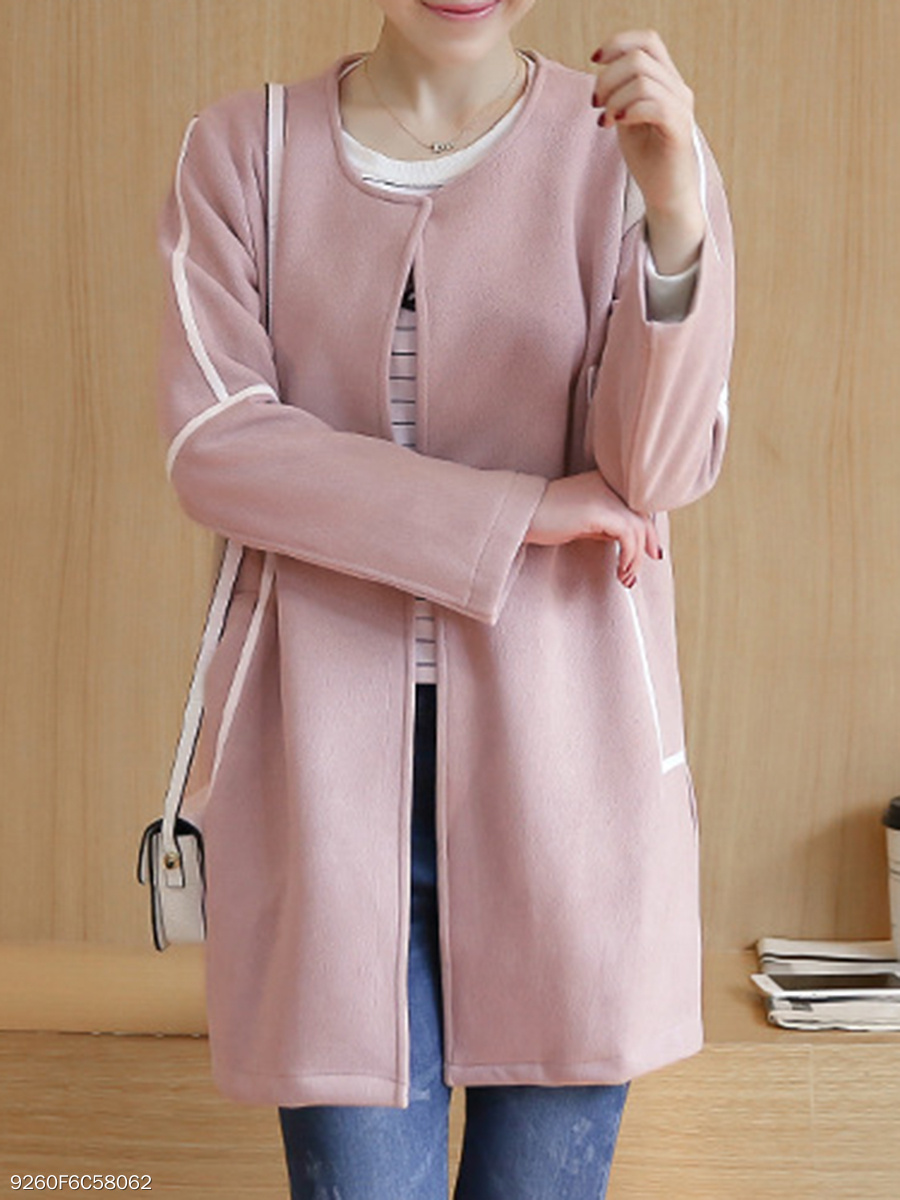 Collarless  Contrast Trim  Plain  Long Sleeve Coats