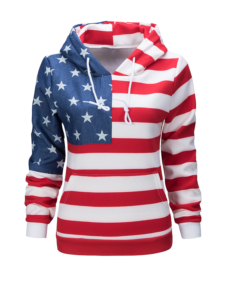 Drawstring  Printed Star Striped Fleece Lined Hoodie