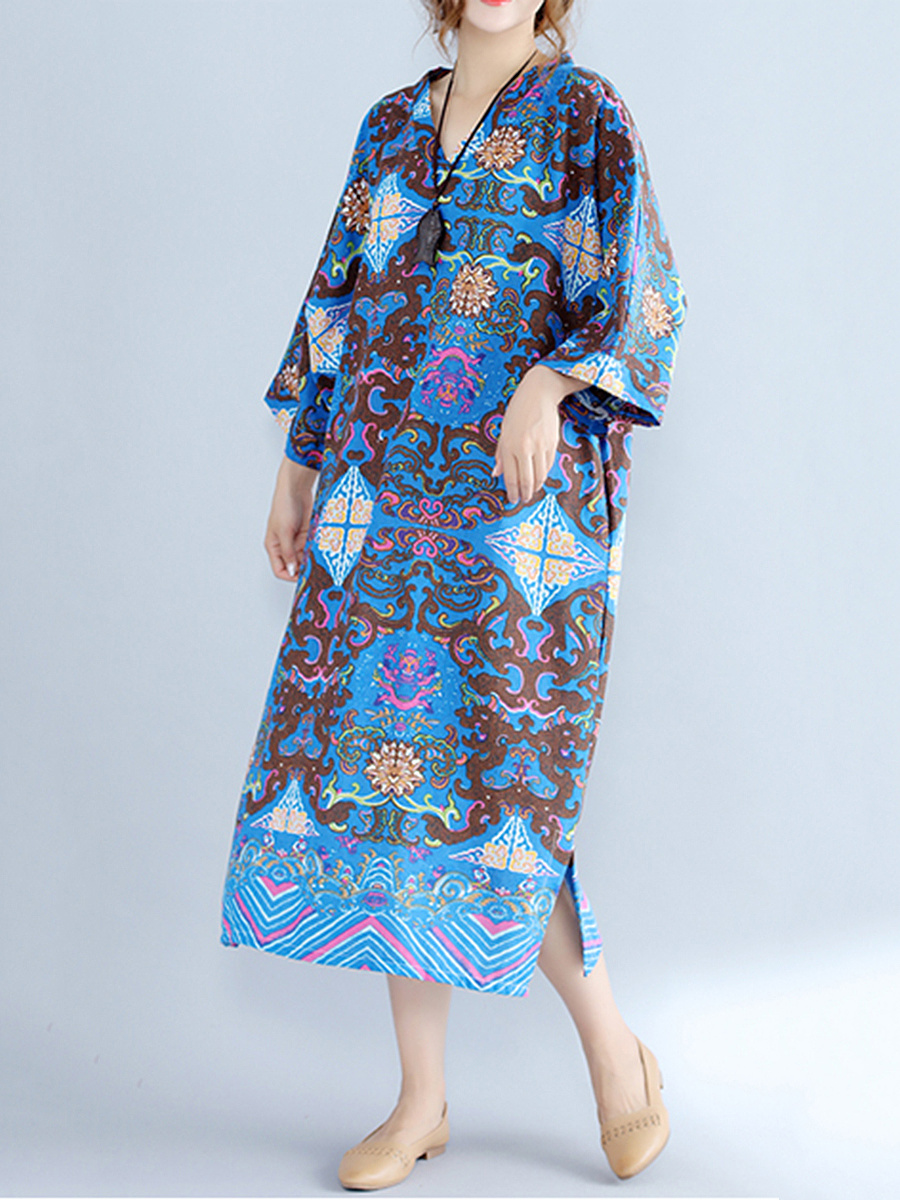 Oversized V-Neck Tribal Printed Maxi Dress