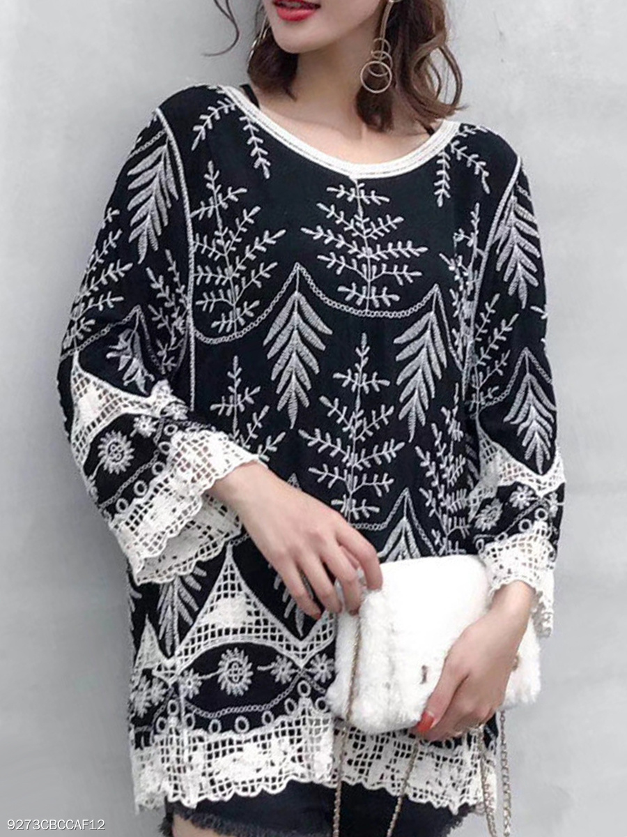 Round Neck  Decorative Lace  Floral Hollow Out  Long Sleeve Sweaters Pullover