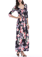 V-Neck Belt Floral Printed Maxi Dress