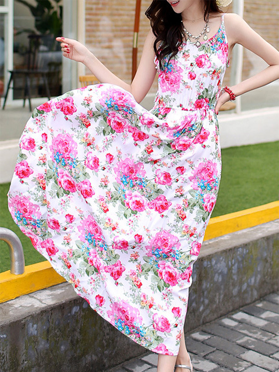 Spaghetti Strap Floral Printed Stylish Maxi Dress