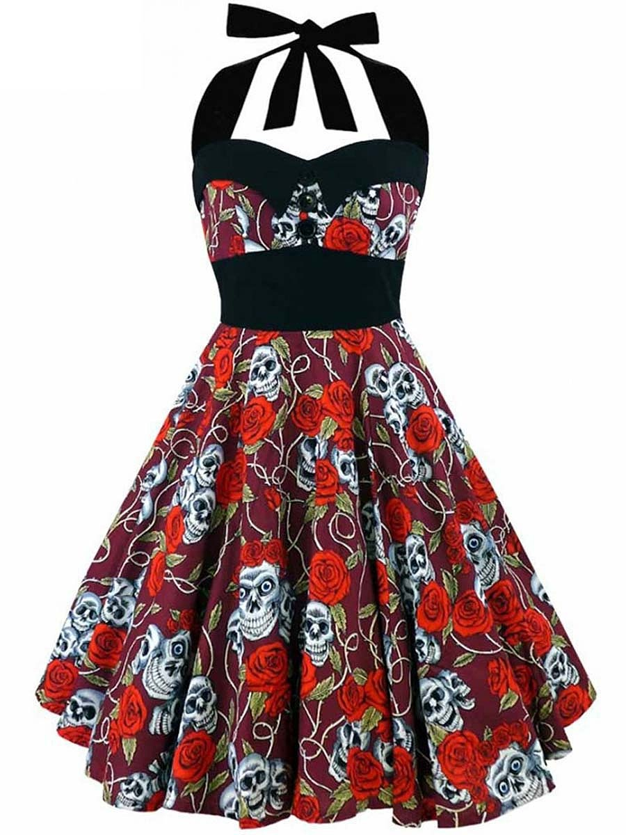 Halter Floral Skull Printed Skater Dress