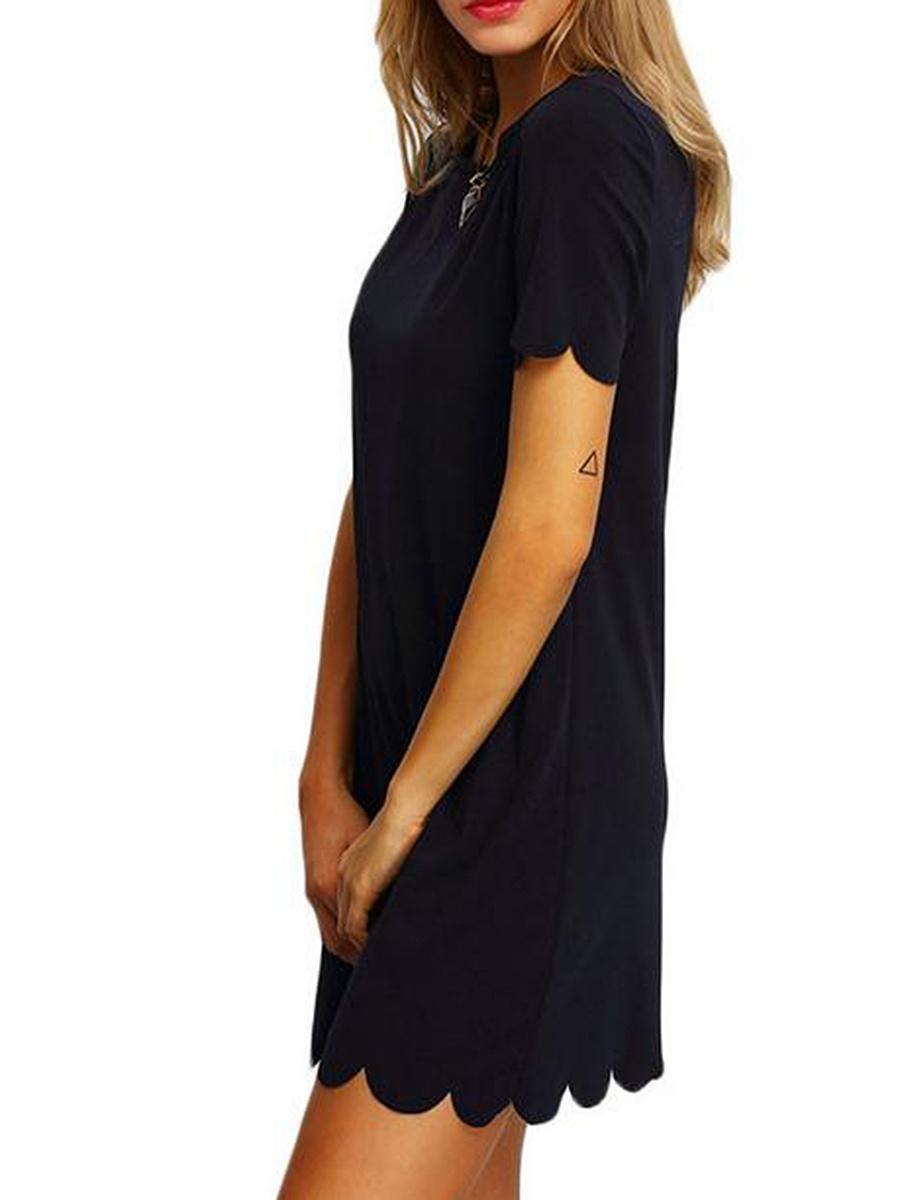 Round Neck  Cutout  Plain Shift Dress