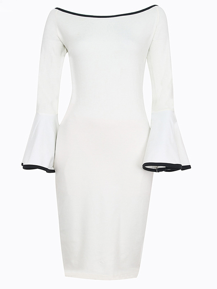 Boat Neck Contrast Trim Bell Sleeve Bodycon Dress