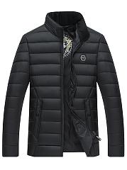 Men-Plain-High-Neck-Pocket-Quilted-Padded-Coat