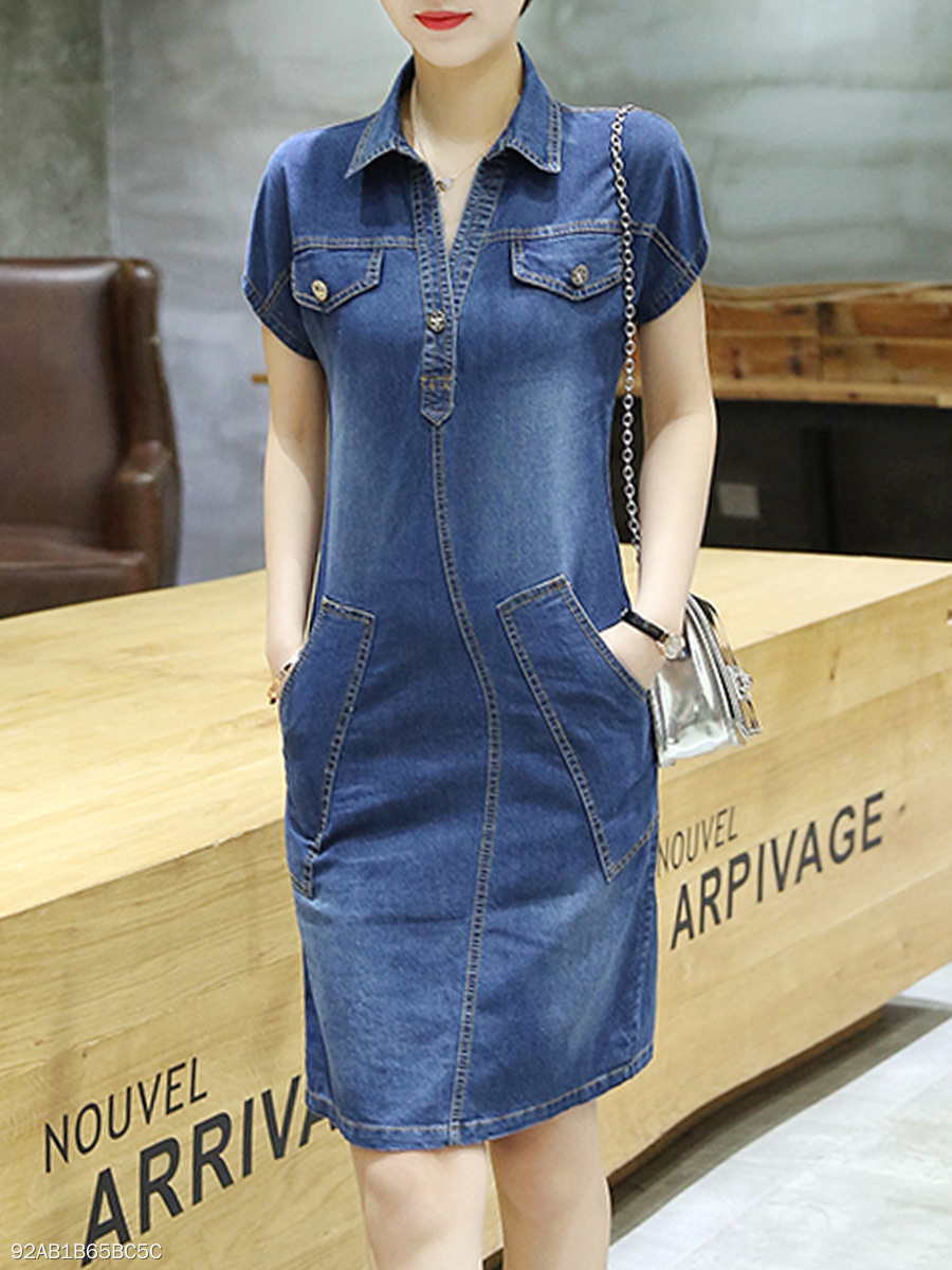 Denim Patch Pocket Contrast Stitching Bodycon Dress