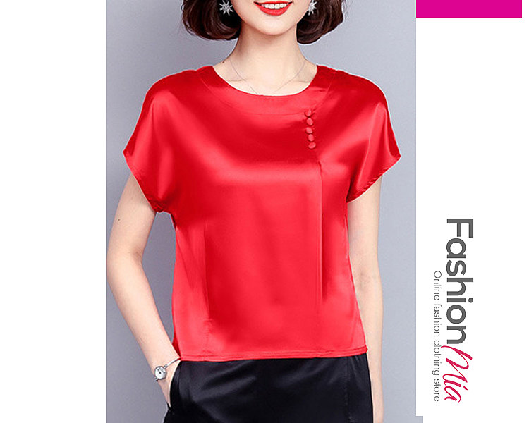 Summer  Women  Round Neck  Decorative Button  Plain  Short Sleeve Blouses
