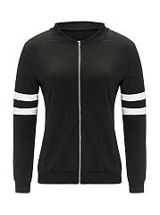 Zips-Plain-Striped-Long-Sleeve-Jackets