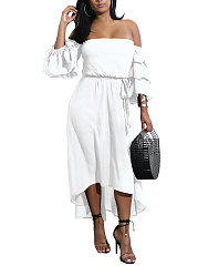 Off Shoulder  Belt  Plain Maxi Dress
