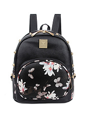Floral Printed Rivet Backpack
