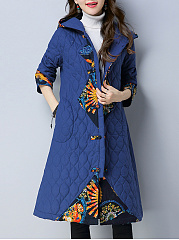 Hooded Tribal Printed Quilted Pocket Long Coat
