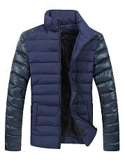 High-Neck-Patchwork-Pocket-Plain-Men-Padded-Coat
