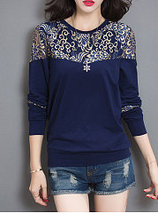 Round Neck  Patchwork  Floral  Long Sleeve Long Sleeve T-Shirts
