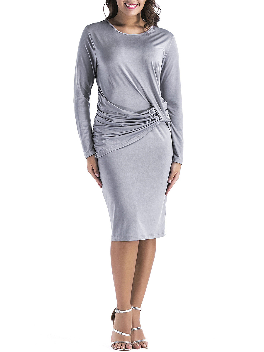 Round Neck Ruched Solid Bodycon Dress