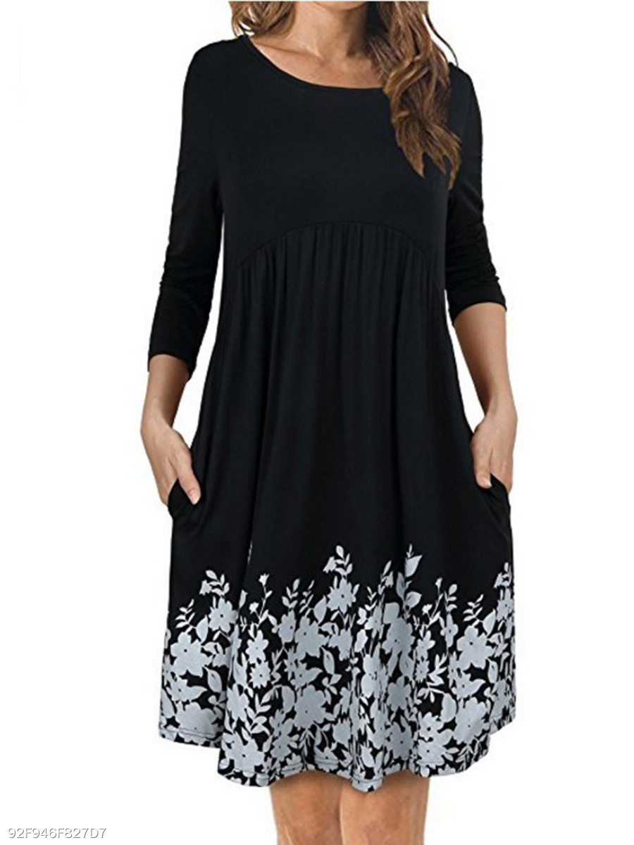Round Neck  Ruffled Hem  Printed  Polyester Shift Dress
