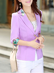 Notch Lapel  Single Button  Printed Blazer