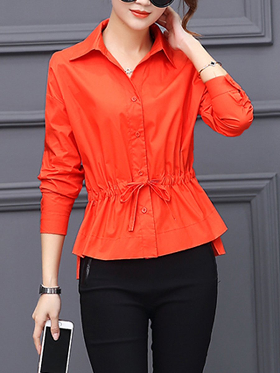 Drawstring Plain High-Low Long Sleeve T-Shirt