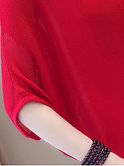 Round Neck  Plain  Batwing Sleeve  Half Sleeve Sweaters Pullover