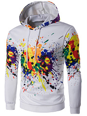 Drawstring Multi-Color Abstract Print Men Hoodie