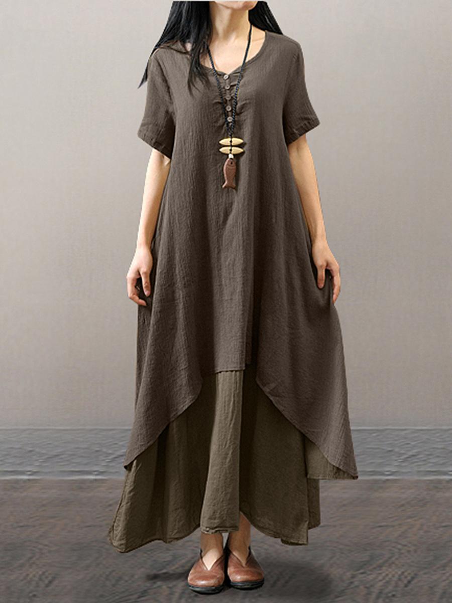 Round Neck  Asymmetric Hem Single Breasted  Plain Maxi Dress