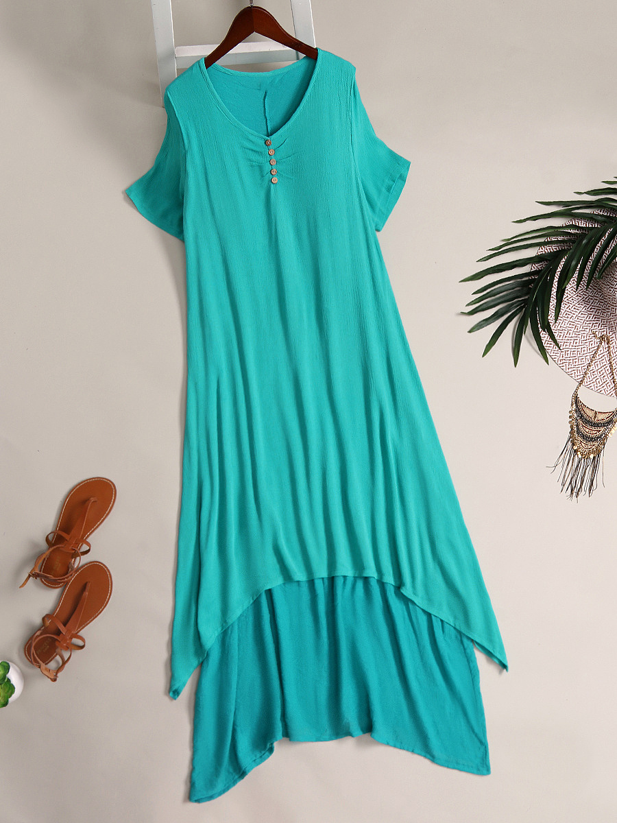 Round Neck  Asymmetric Hem Single Breasted  Plain Maxi Dress