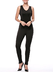 Sexy Designed V-Neck Lace-Up Solid Slim-Leg Jumpsuit