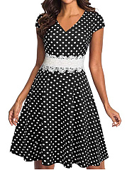 V-Neck  Decorative Lace  Polka Dot Skater Dress