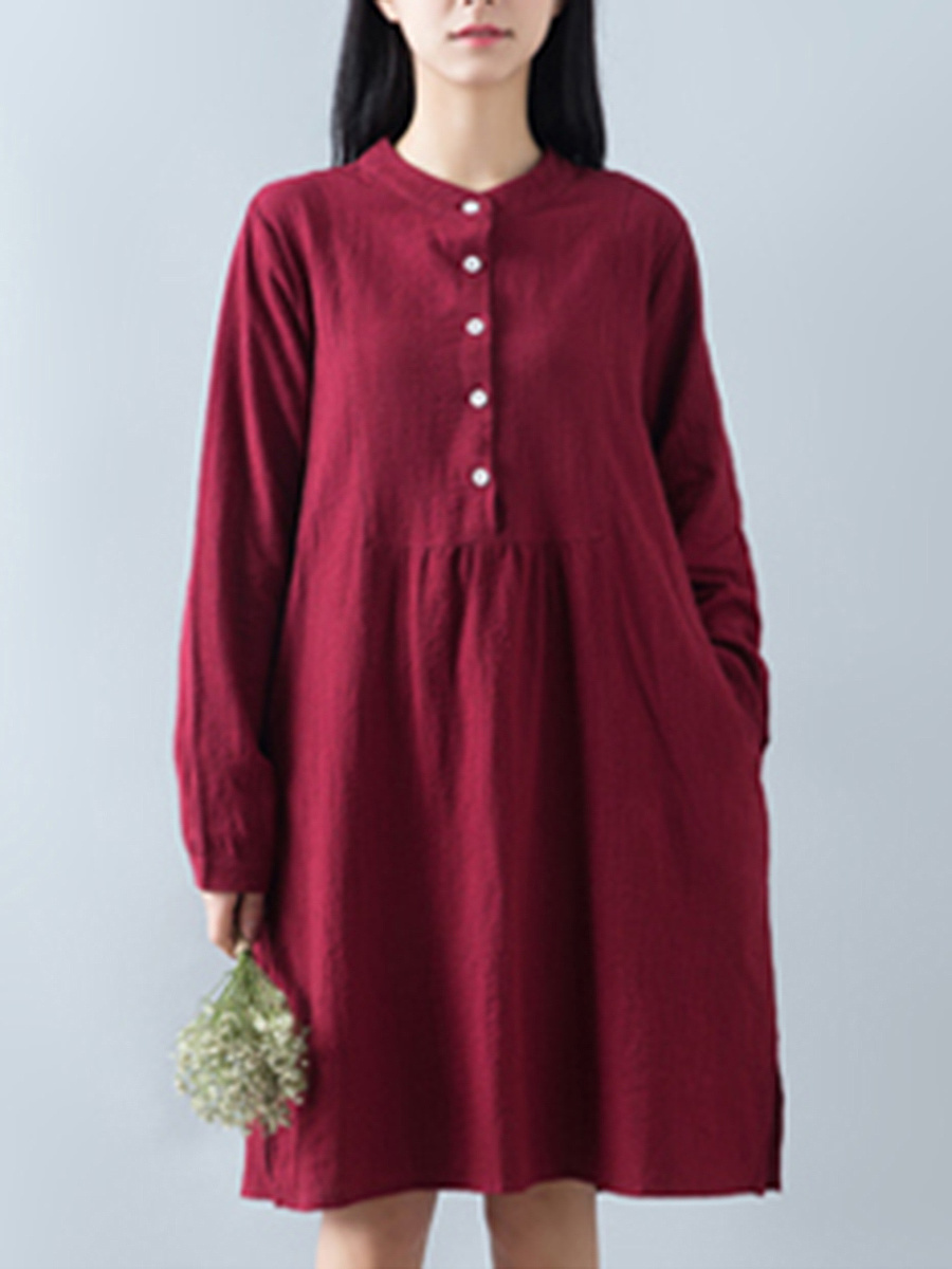Crew Neck Plain Long Sleeve Shift Dress