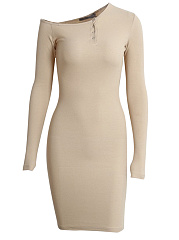 Henley Collar  Plain  Blend Bodycon Dress