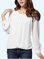 Round Neck Rivet Plain Blouse