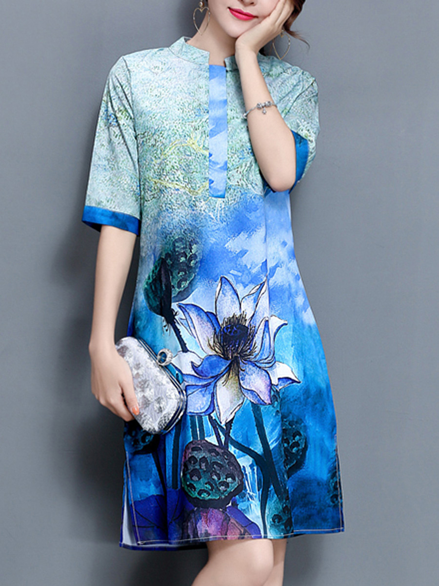 Band Collar Lotus Printed Side Slit Shift Dress