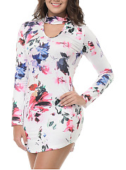 Crew Neck  Curved Hem  Floral Printed Plus Size Bodycon Dress