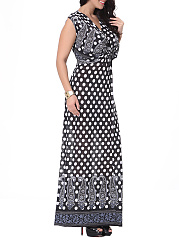 V-Neck  Polka Dot Plus Size Midi & Maxi Dresses