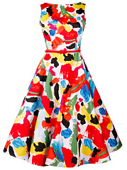 Multi-Color Abstract Print Round Neck Belt Skater Dress