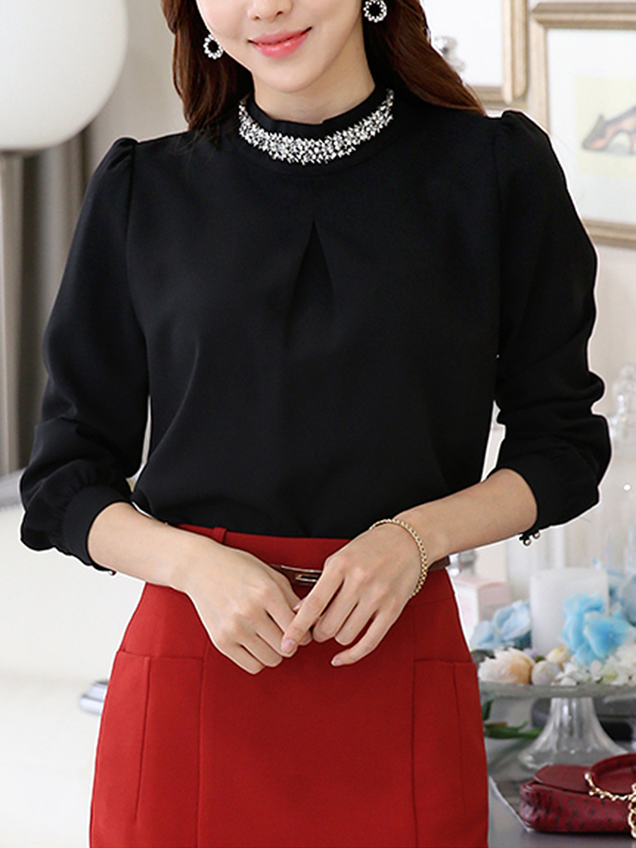 Band Collar Beading Rhinestone Plain Blouse