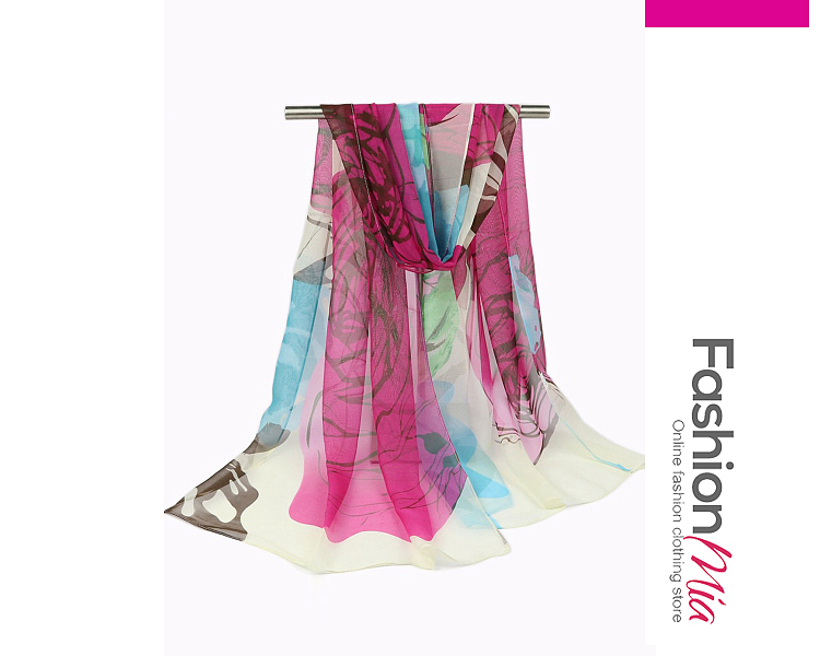 Image of Abstract Print Chiffon Scarf