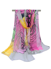 Abstract Print Chiffon Scarf