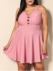 Spaghetti Strap  Hollow Out  Blend Plus Size Flared Dress